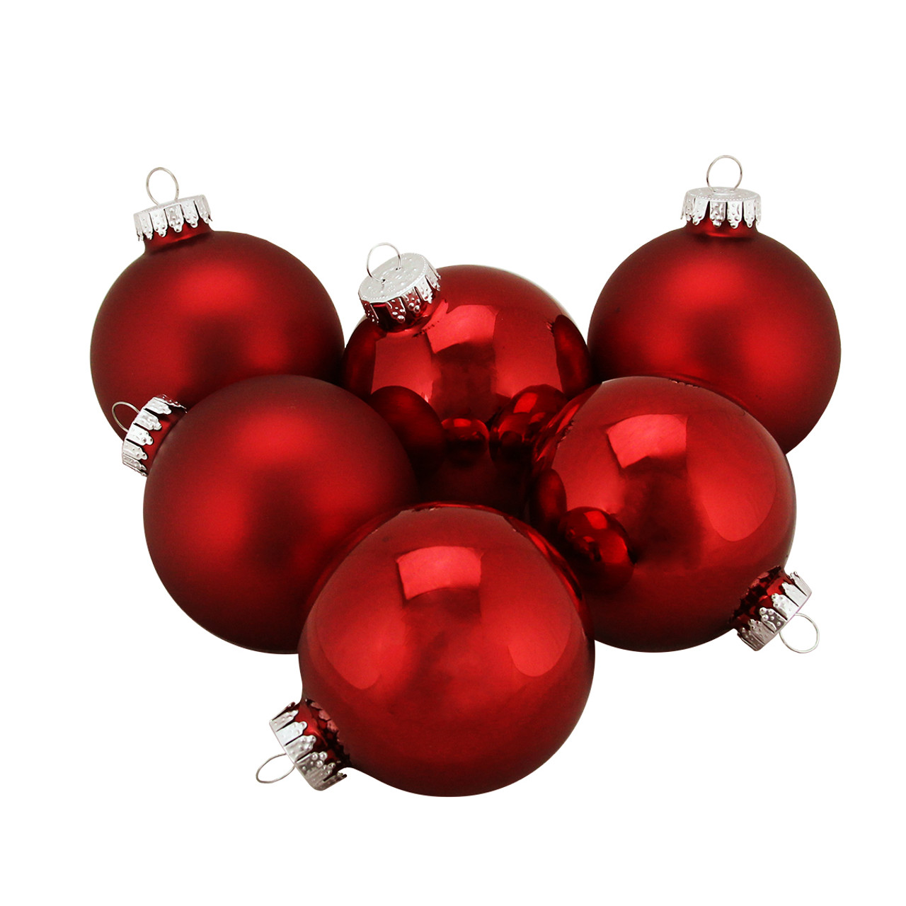 6ct shiny and matte red burgundy glass ball christmas ornaments 25 65mm 31393878