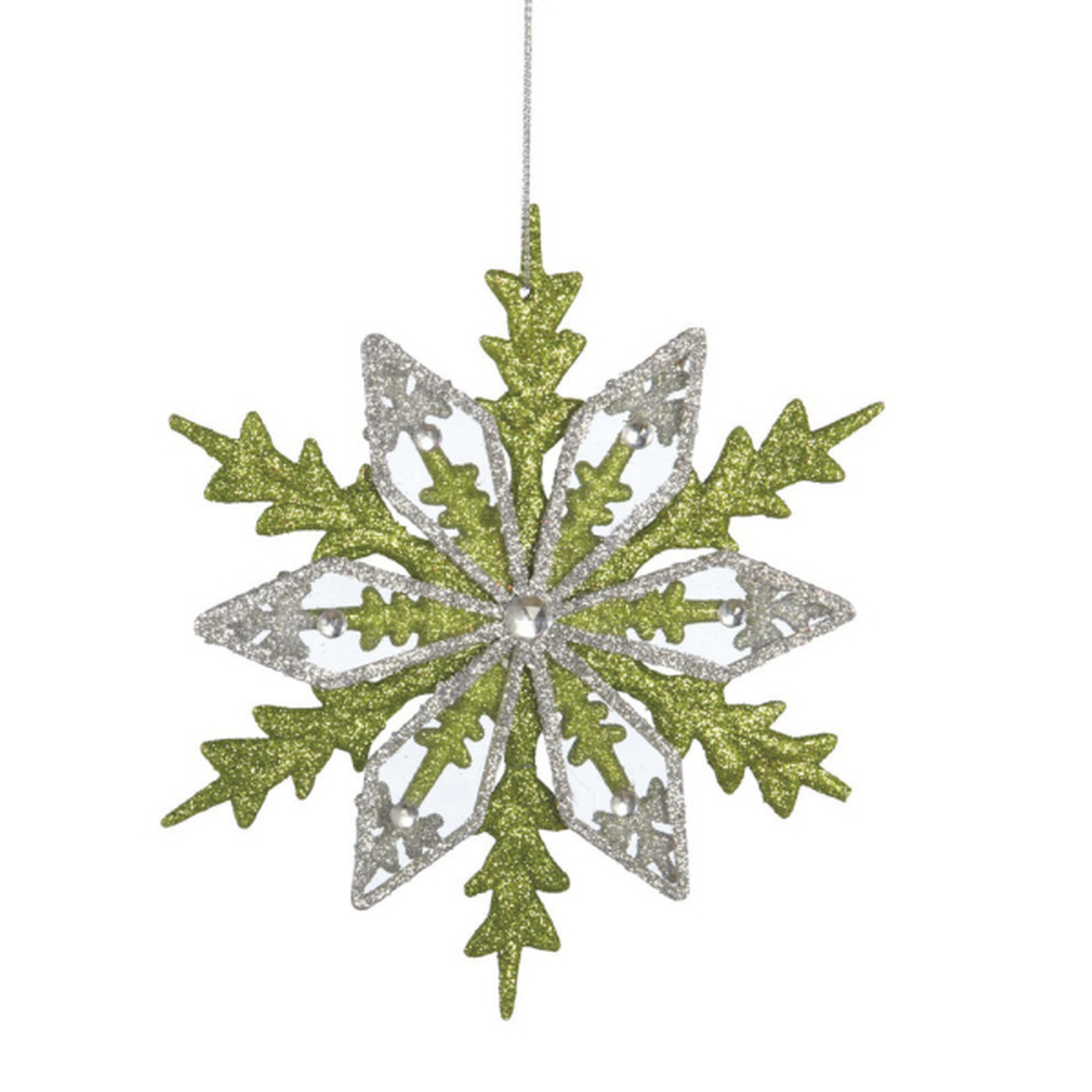 """6"""" Good Tidings Silver & Green Glitter Drenched Snowflake"""