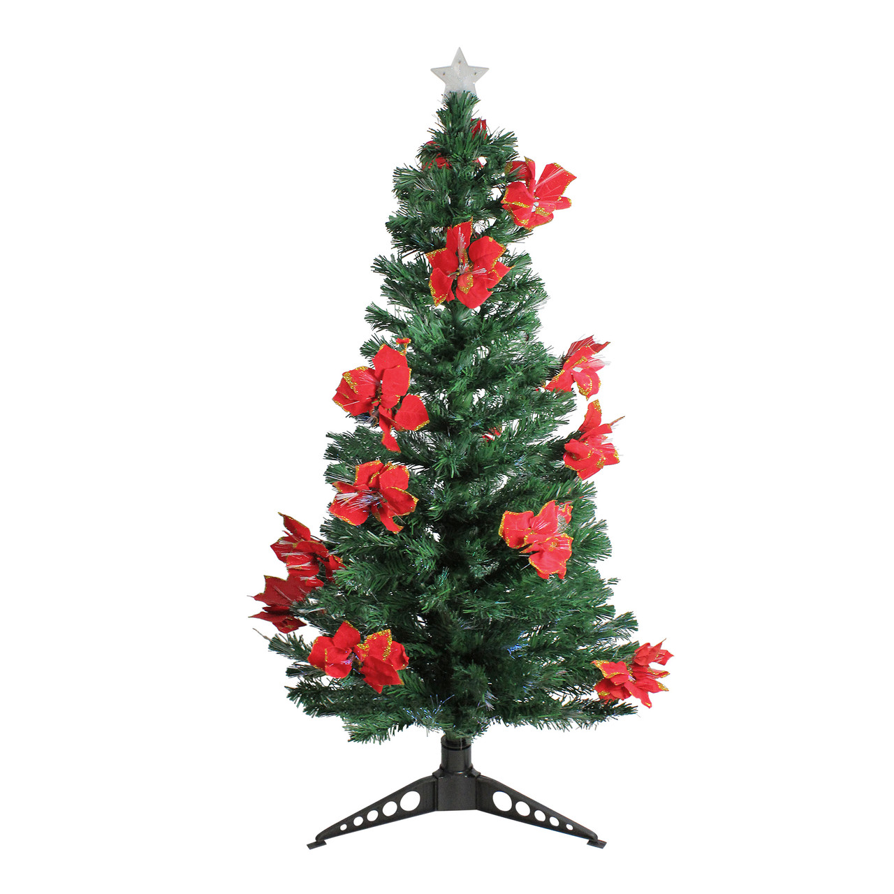 5' Pre-Lit Fiber Optic Artificial Christmas Tree with Red ...