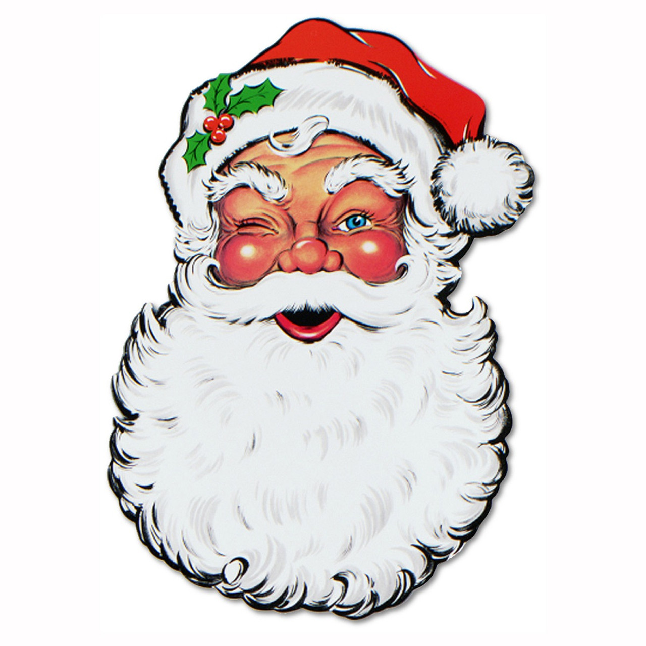 pack of 12 double sided traditional santa claus face cutout christmas decorations 26 31562006 - Cut Out Christmas Decorations