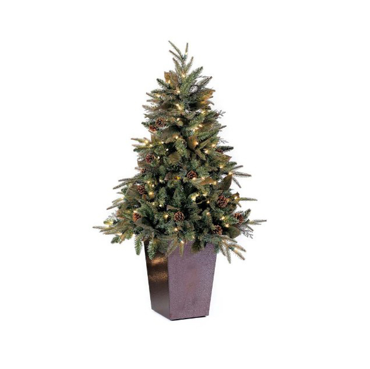 5 potted pre lit green river spruce medium artificial christmas tree clear lights 31734317 - Potted Artificial Christmas Trees