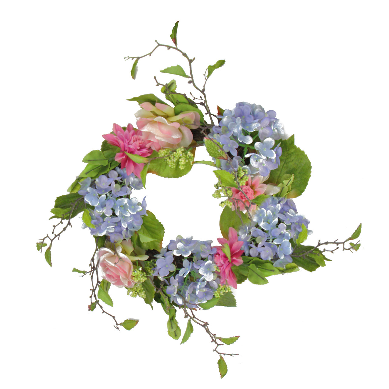 20 blue pink rose hydrangea floral wreath unlit christmas 20 blue and pink rose and hydrangea floral wreath unlit 32013077 izmirmasajfo
