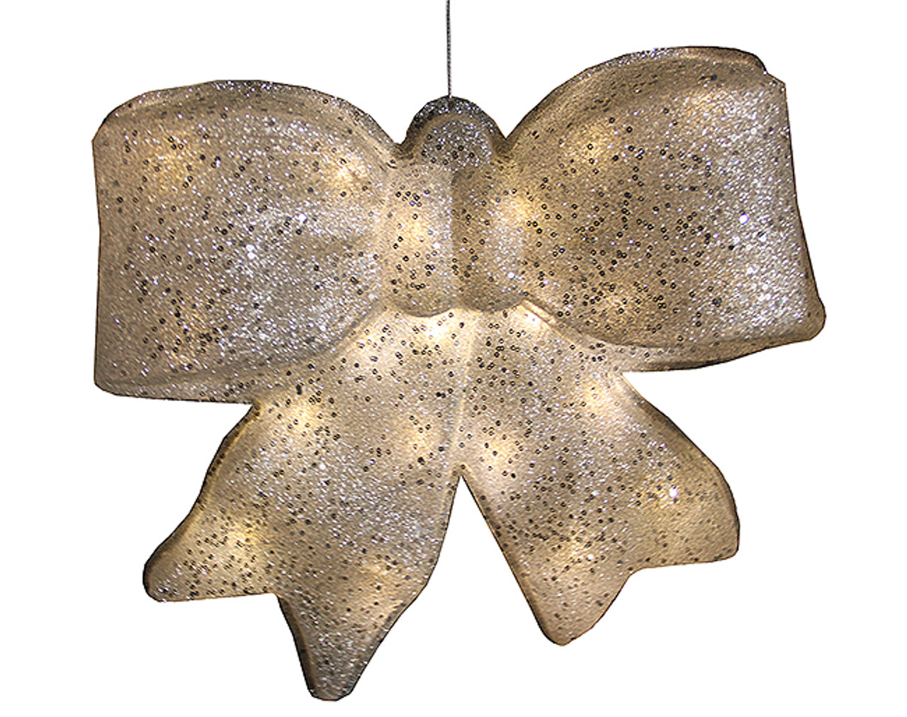155 silver glittered battery operated lighted led christmas bow decoration 30655046