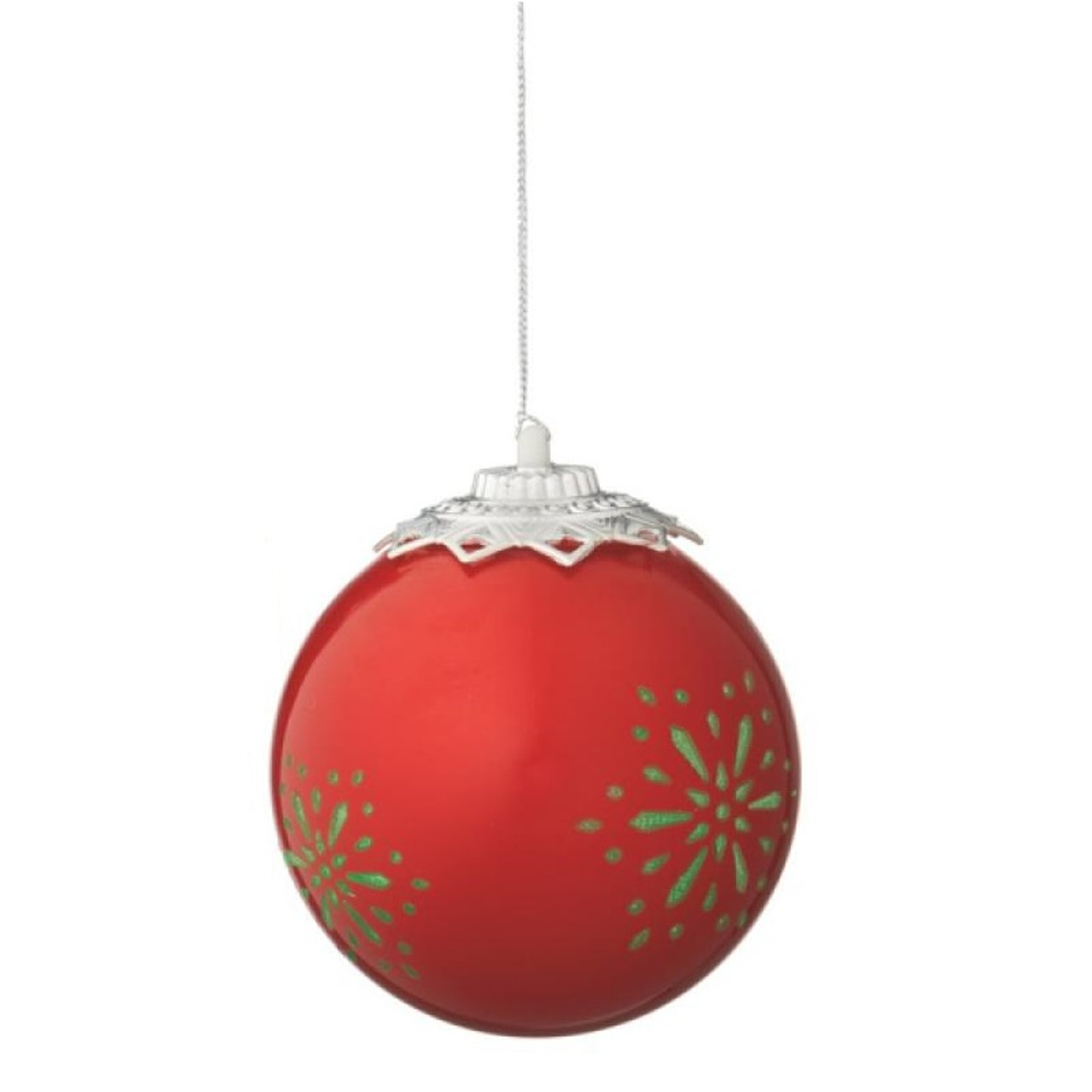 red battery operated led lighted snowflake shatterproof christmas ball ornament 35 90mm 32229126