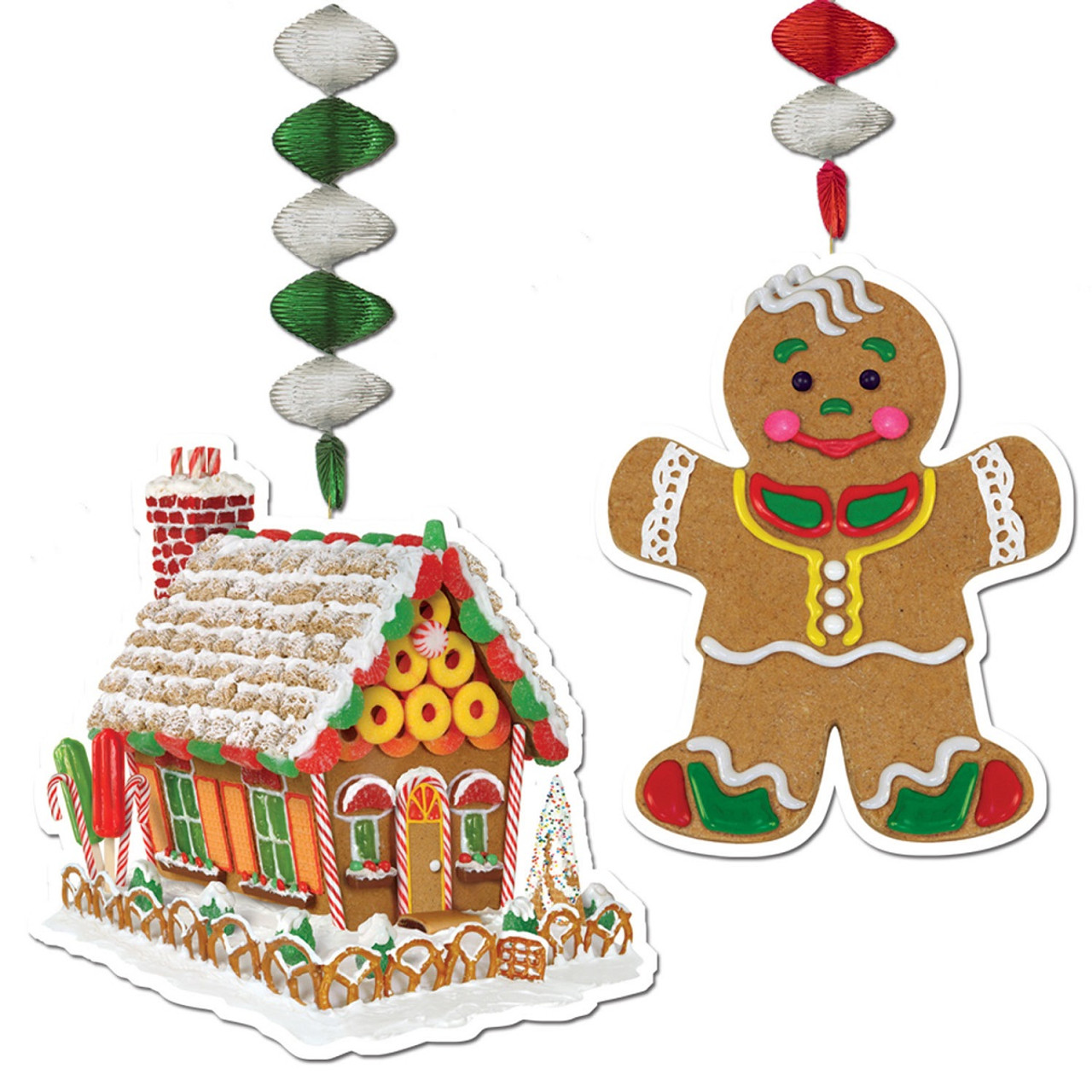 pack of 24 gingerbread house and man christmas dangler hanging party decorations 30 31561789