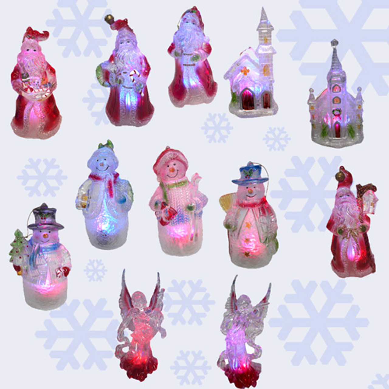 Illuminated Led Ornaments: Set Of 12 Lighted LED Color Changing Christmas Ornaments
