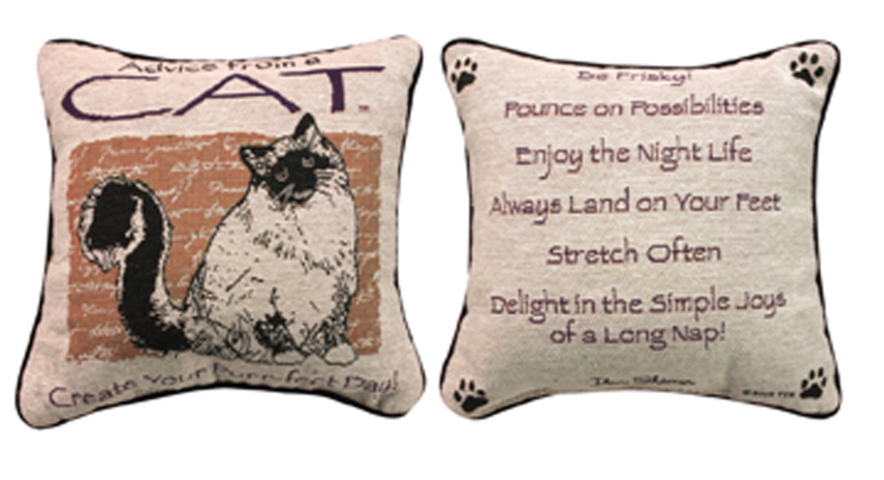 Throw Pillow Advice : Advice from a Cat Decorative Throw Pillow 12.5