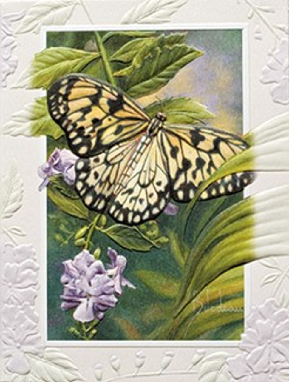 pack of 9 rice paper butterfly fine art embossed deluxe greeting