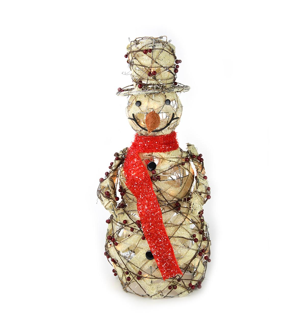 "Lighted Burlap Christmas Decorations: 27.5"" Lighted Burlap & Berry Rattan Standing Snowman"