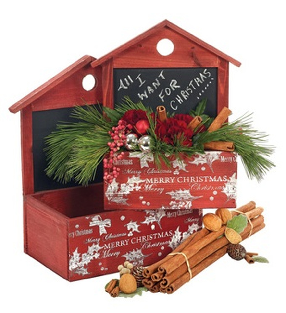 set of 2 decorative wooden red rectangular christmas boxes with chalkboard accent 12 1325 31567476