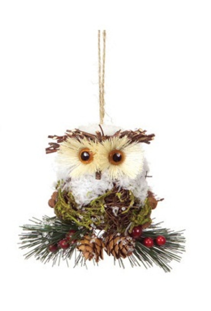 45 modern lodge iced pine cone and twig rustic owl christmas ornament 30656824