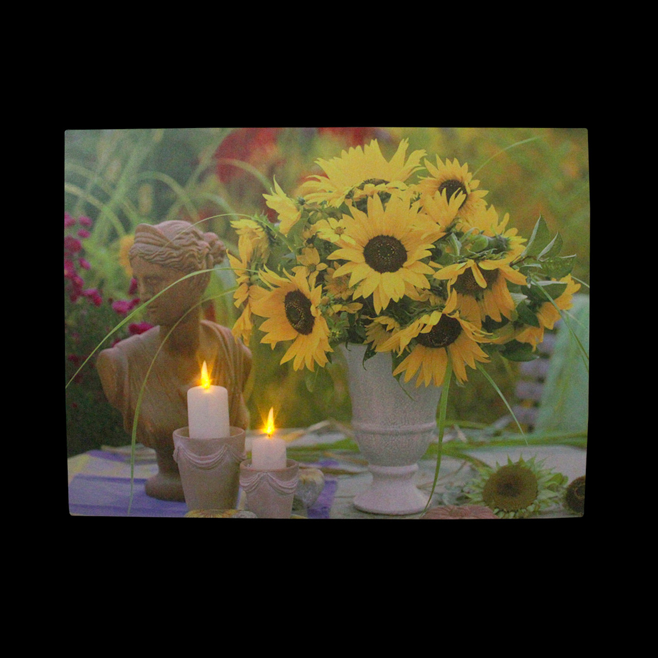 LED Lighted Flickering Garden Candles & Sunflower Vase Canvas Wall ...