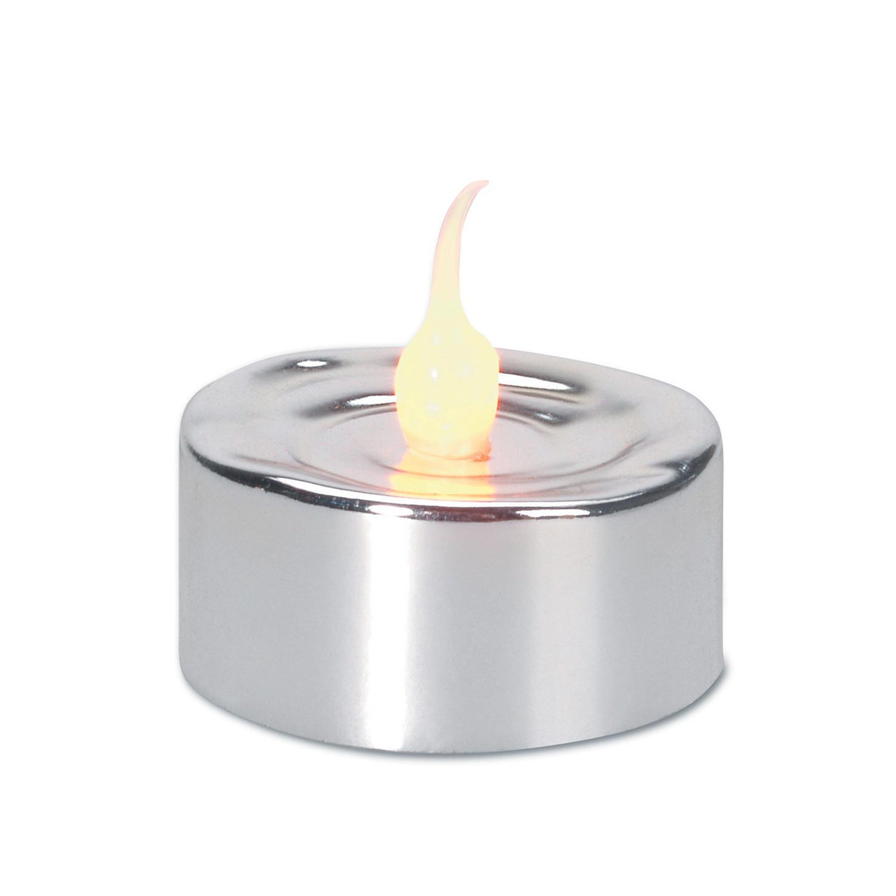3 Led Lighted Battery Operated Flicker Flame Silver