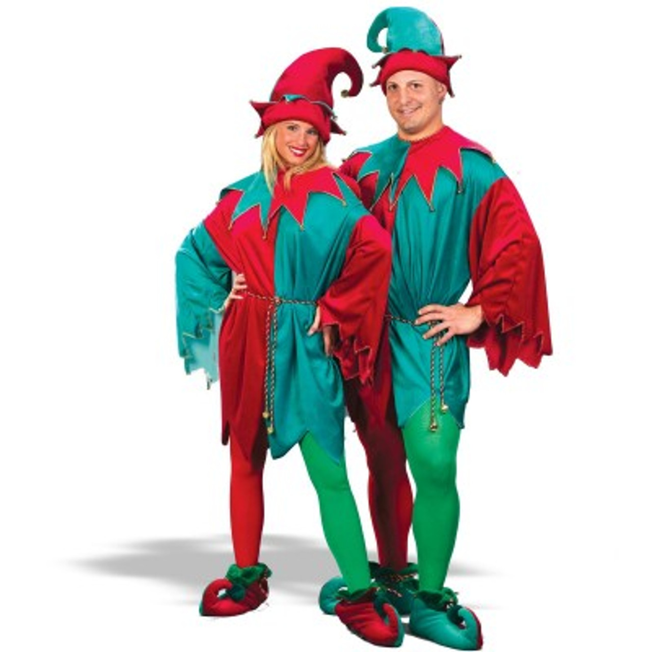 red and green unisex adult 5 piece christmas elf costume set one size fits most 6077071 - Christmas Elf Costume