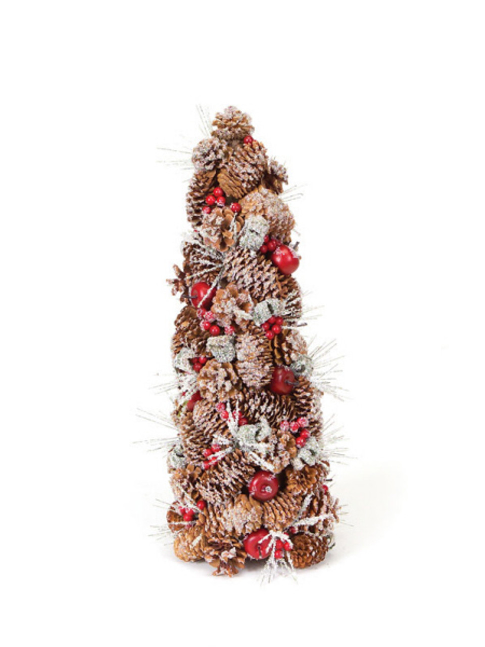 20 eco country iced pine cone artificial apple berry for Country living artificial christmas trees