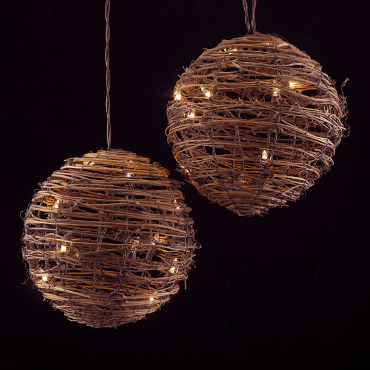 set of 3 country rustic rattan ball novelty christmas lights clear lights 31487310
