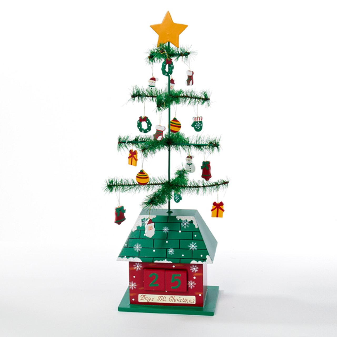 17 green and red christmas tree with ornaments days till christmas calendar 31736723 - Miniature Christmas Decorations