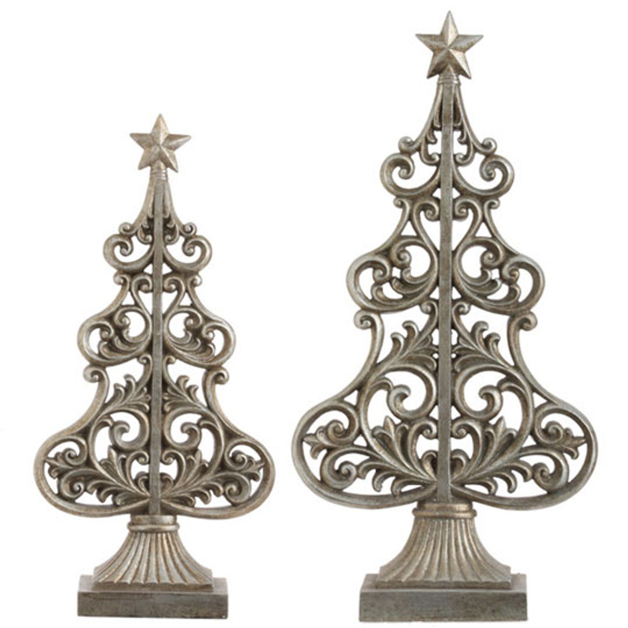 set of 2 seasons of elegance antique silver scroll christmas tree decorations 30790418 - Antique Silver Christmas Decorations