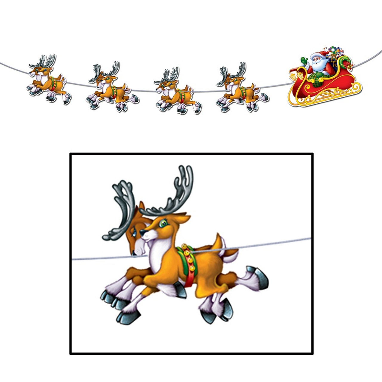 Pack of 12 Santa & Reindeer Jointed Streamer Christmas Decorations 8' | Christmas Central