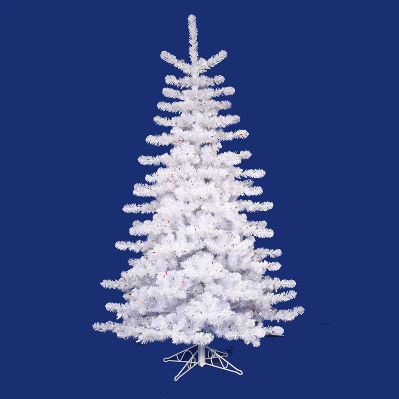 10 Pre Lit Crystal White Artificial Christmas Tree Multi Lights 11263088