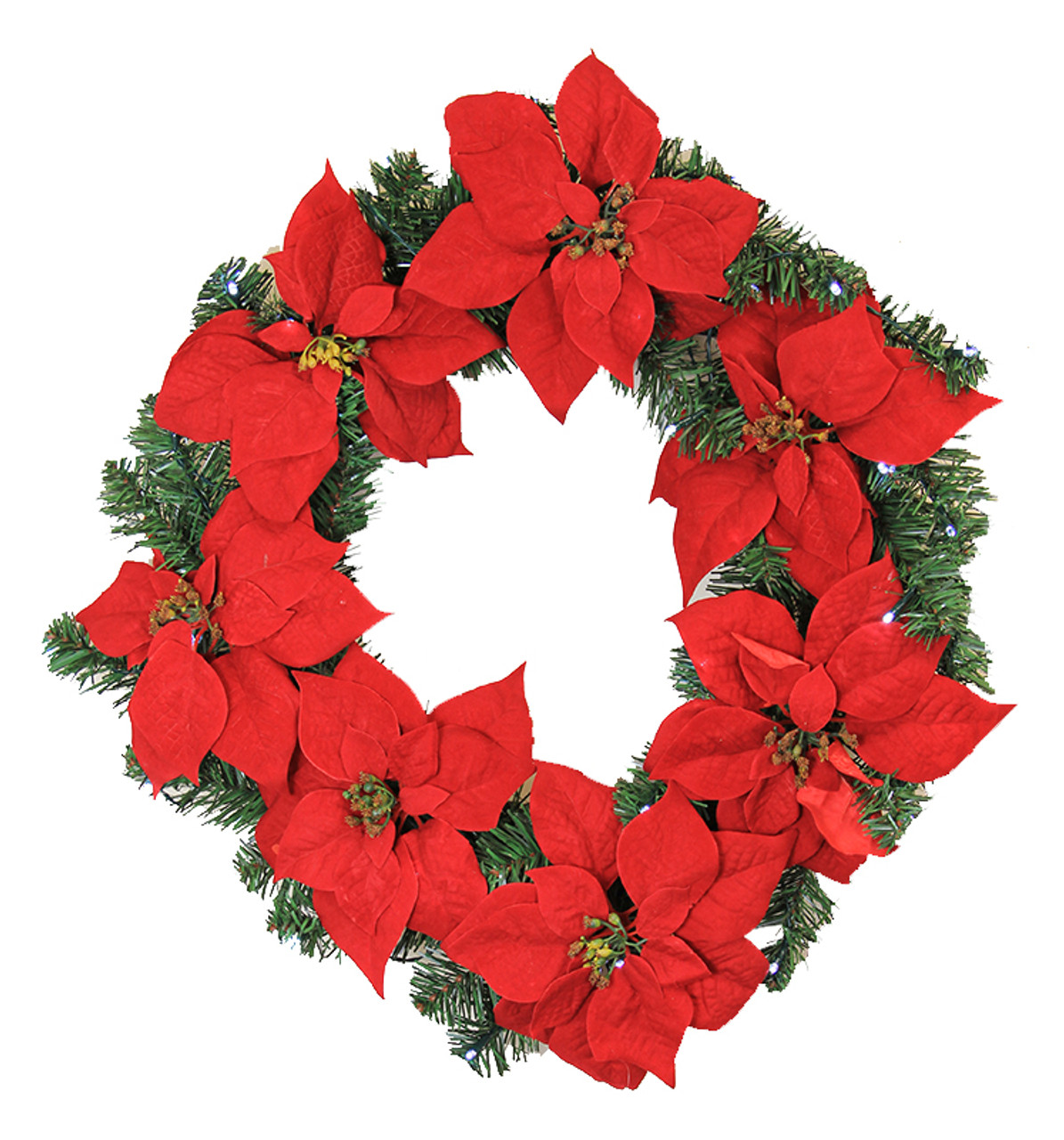 22 pre lit red artificial poinsettia christmas wreath clear led lights 30890583 - Poinsettia Christmas Decorations