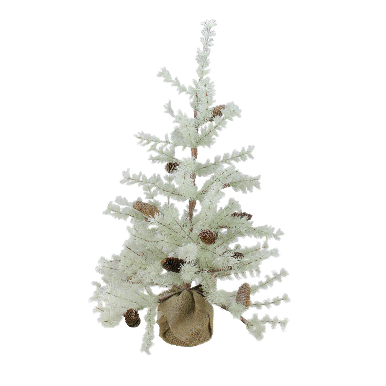 3 silent luxury frosted green pine artificial christmas tree with burlap base unlit 31799418