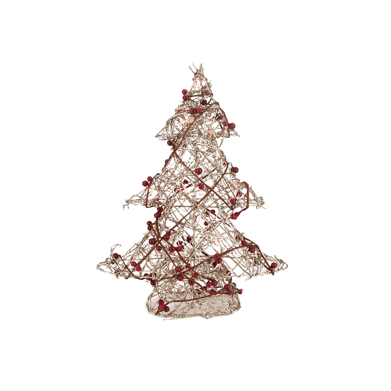 19 pre lit champagne gold glittered rattan berry artificial christmas tree clear lights 31457846