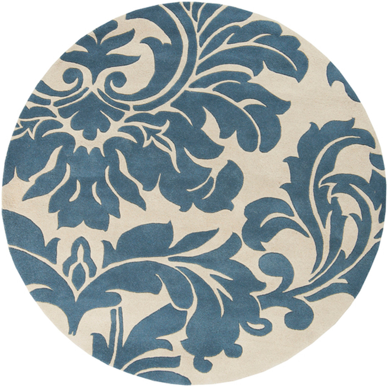 Blue And White Circle Rug: 4' Falling Leaves Damask Slate Blue & Off-White Round Wool