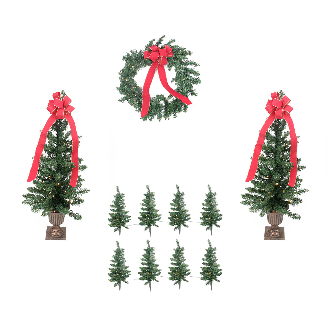 pre lit traditional pine artificial outdoor christmas entrance set clear lights 31467194 - Pre Lit Outdoor Christmas Tree