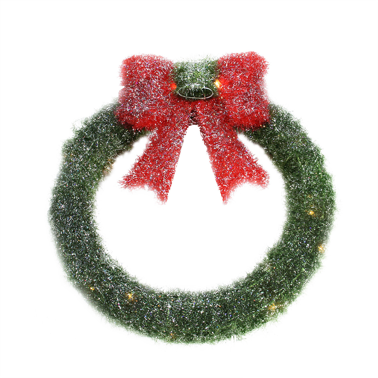 16 lighted tinsel green wreath with bow christmas window decoration 31301585 - Window Wreaths Christmas Decorations