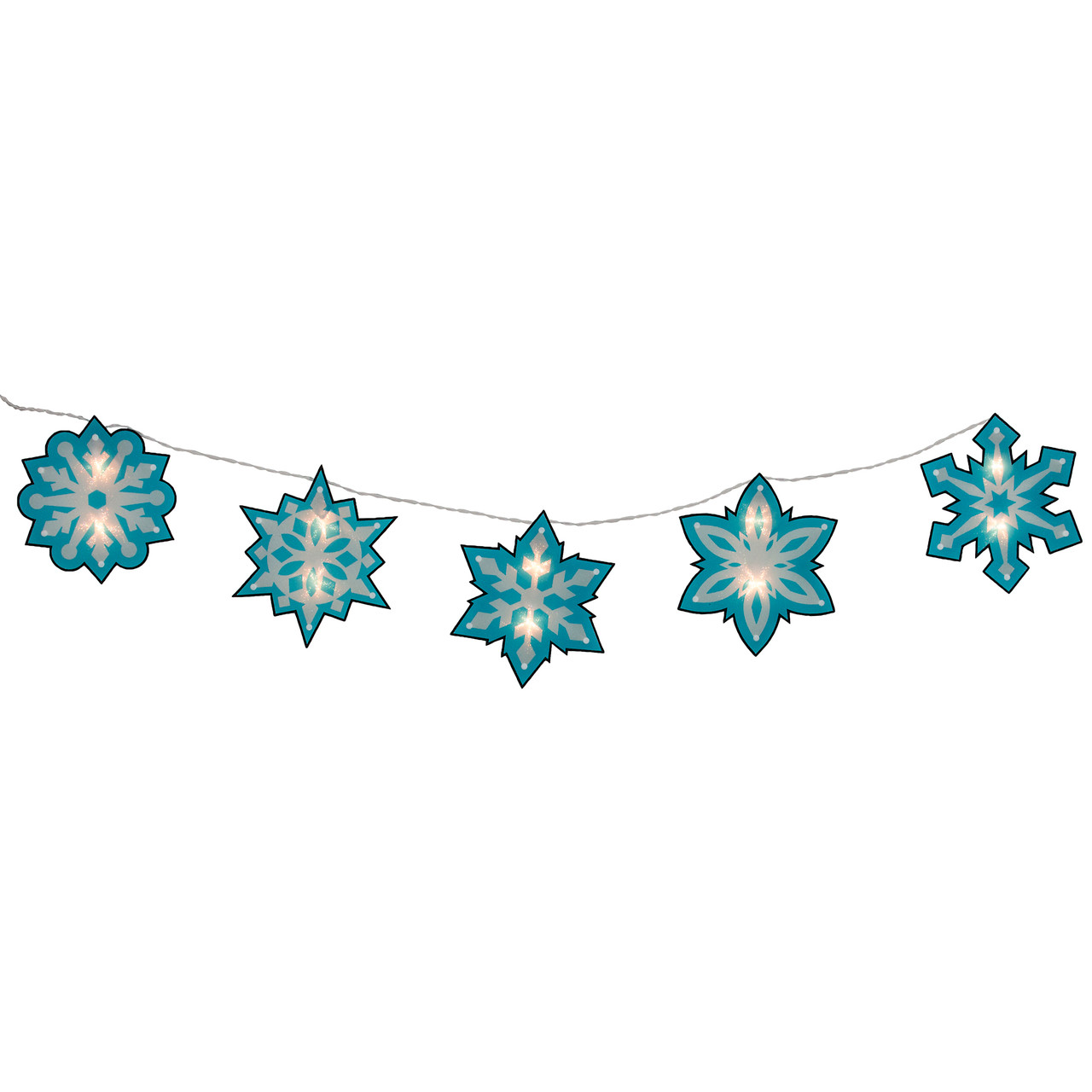 45 blue and white shimmering snowflake christmas light garland with 10 clear mini lights white wire 31728950