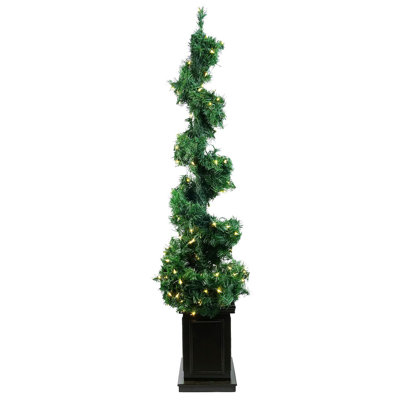 5\' Pre-Lit Helix Spiral Potted Artificial Topiary Tree - Clear ...