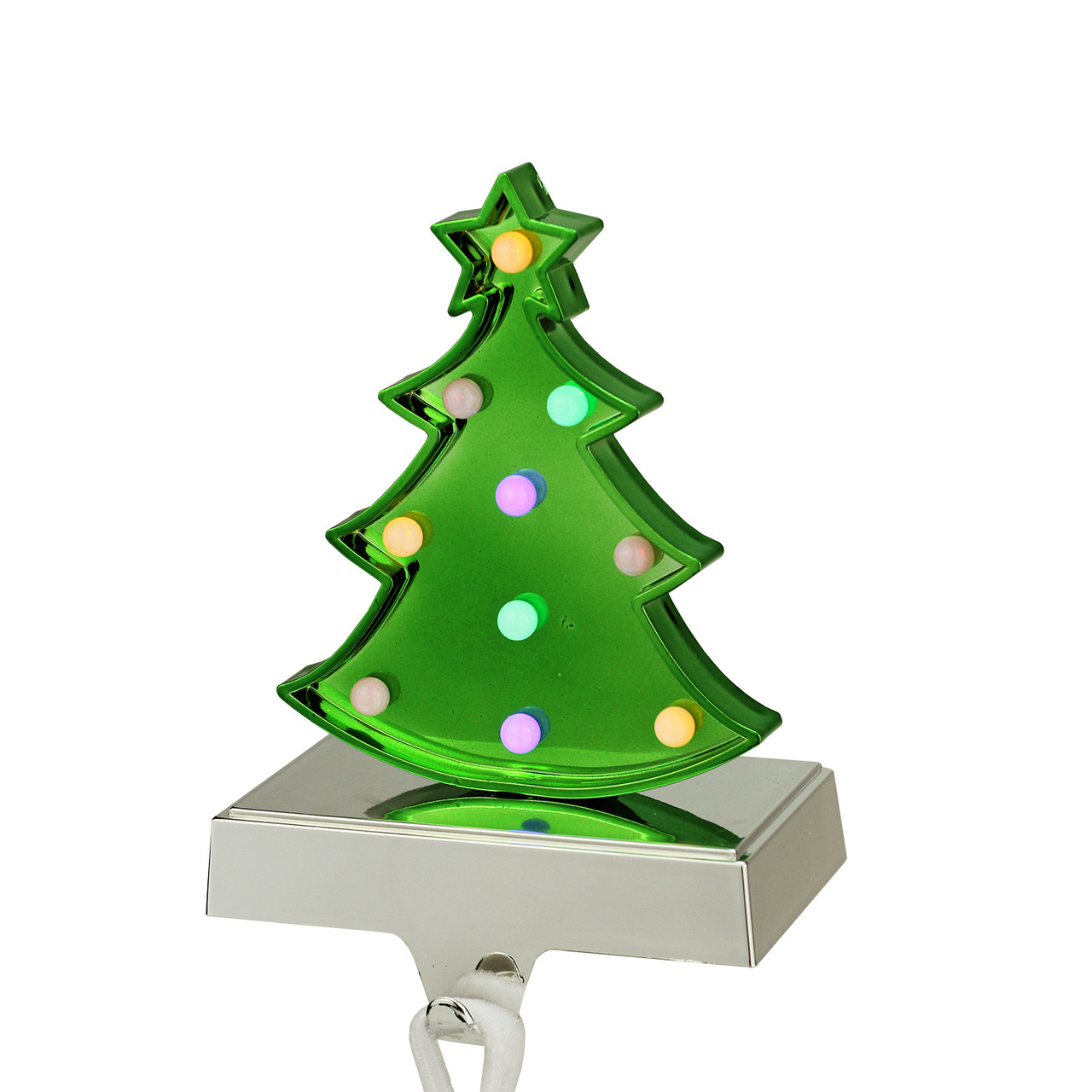 725 battery operated led multi color lighted green christmas tree stocking holder 32269894 - Battery Operated Christmas Trees