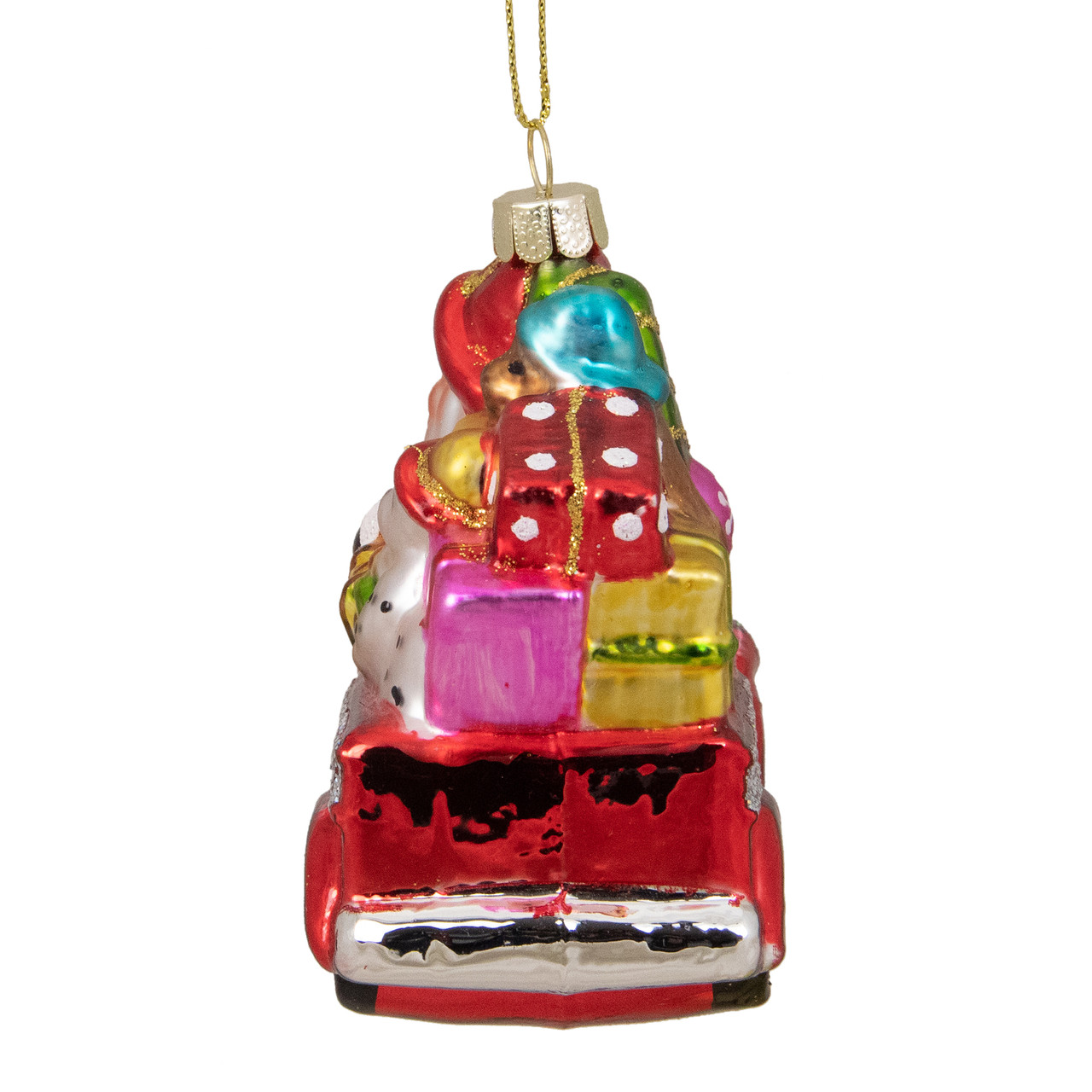 35 glass santa in fire truck decorative christmas ornament 31752658