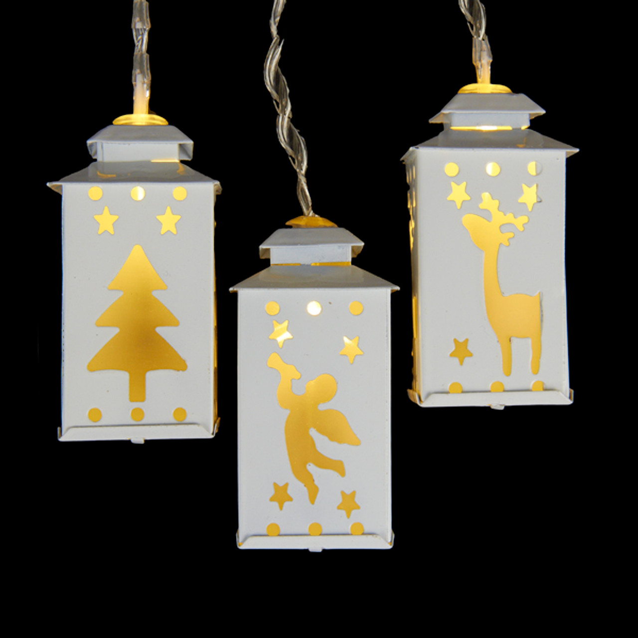 Set of 10 Battery Operated LED Mini White Metal Lantern ...