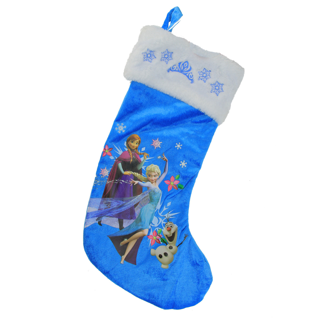 185 disney frozen anna elsa and olaf blue and white christmas stocking 31758144 - Elsa Christmas Decoration