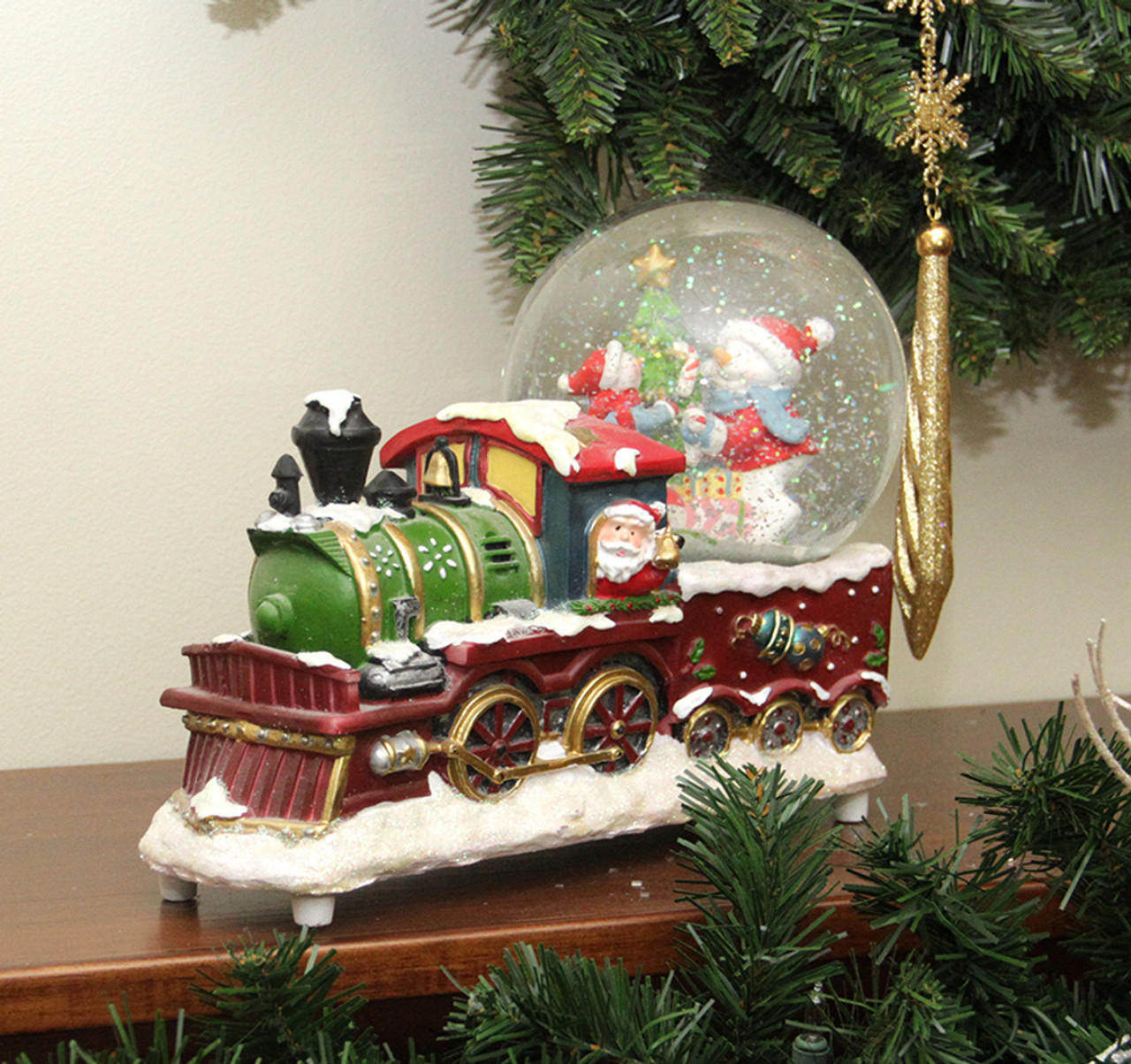 95 santa claus christmas train with snowman scene glitterdome snow globe table top decoration 31465875