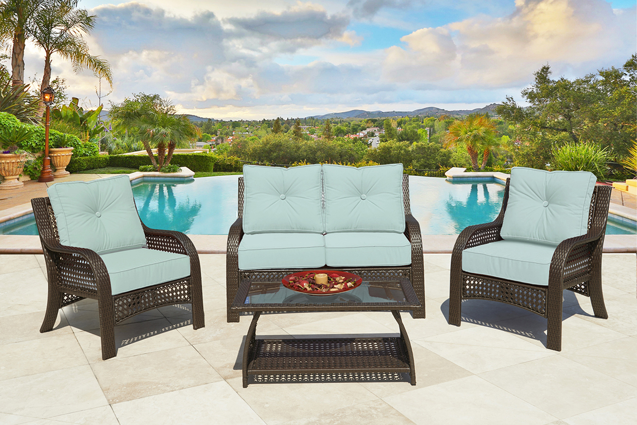 4 Piece Chelsea Cappuccino Resin Wicker Patio Loveseat, Chairs U0026 Table  Furniture Set   Kate Sky Cushions   32148064