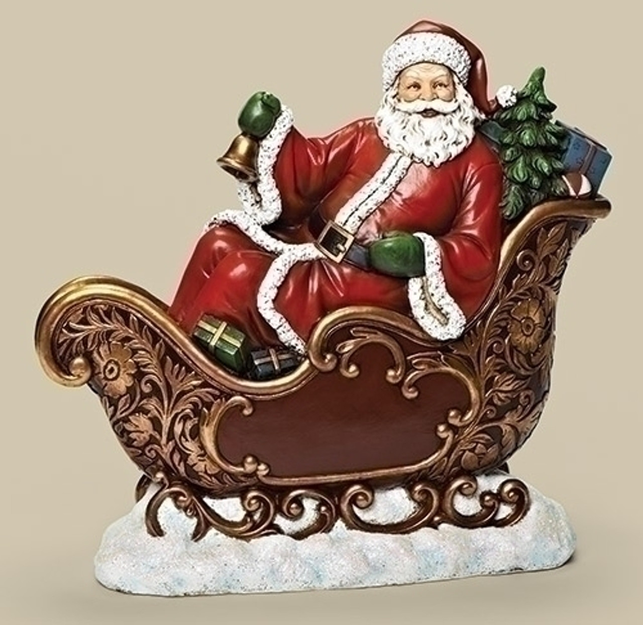 155 red and gold colored santa in sleigh tabletop christmas figure 31492840