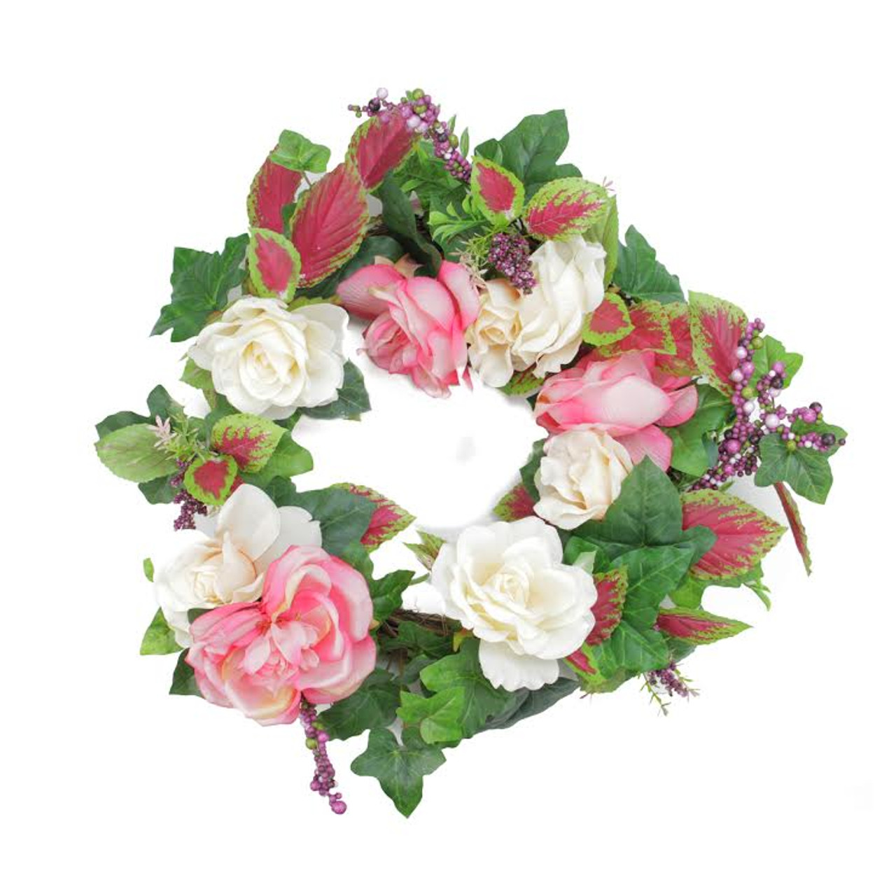 225 Decorative Cream Pink Rose Flowers Berries Artificial