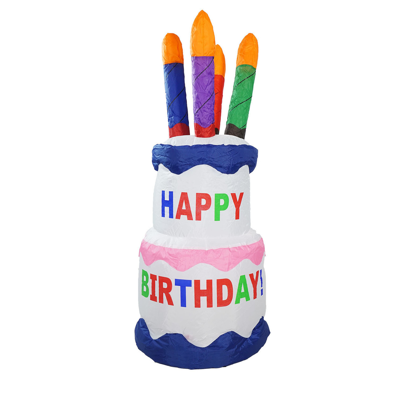 4\' Inflatable Lighted Happy Birthday Cake Outdoor Decoration ...