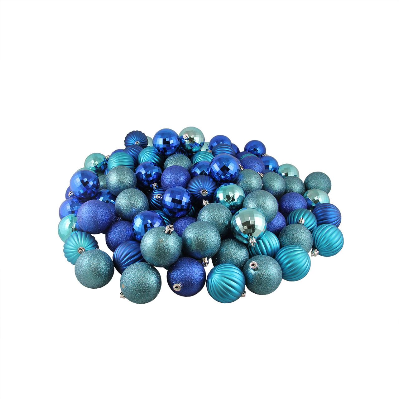 100ct Peacock Blue 3-Finish Shatterproof Christmas Ball ...