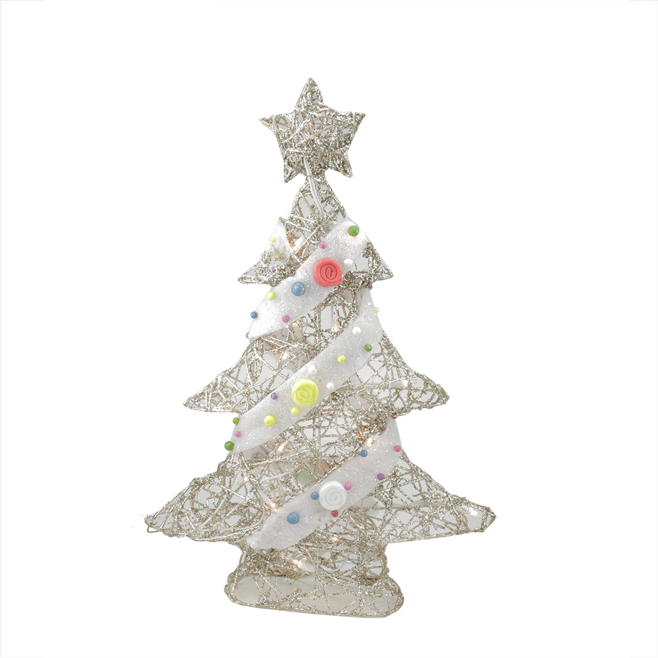 22 pre lit champagne gold glittered rattan candy covered christmas tree table top decoration 31748374