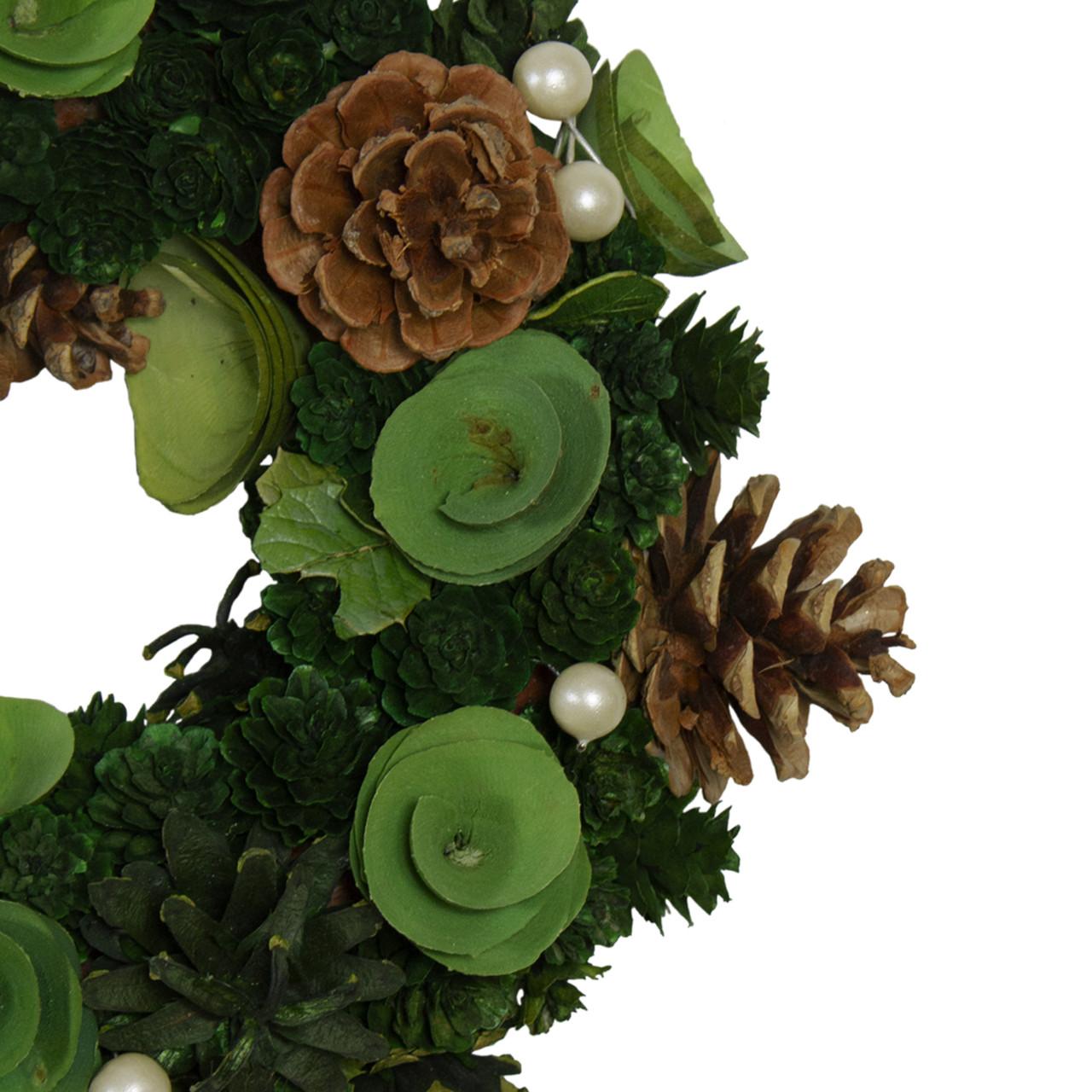"11"" Green Mini Pine Cone & Wooden Rose Artificial ..."