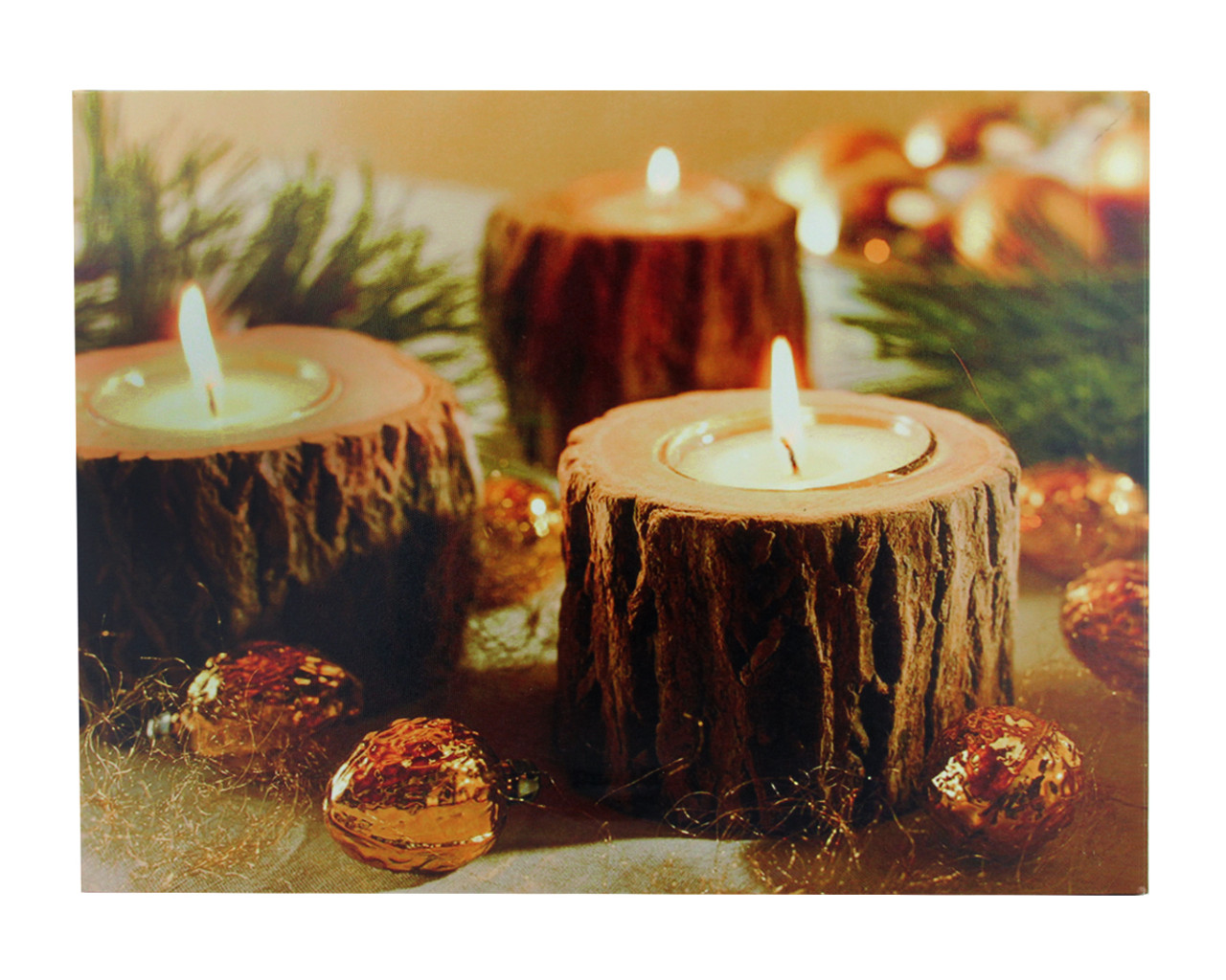 LED Lighted Flickering Rustic Lodge Woodland Candles Canvas Wall Art 11.75  x 15.75  -  sc 1 st  Christmas Central & LED Lighted Flickering Rustic Lodge Woodland Candles Canvas Wall Art ...
