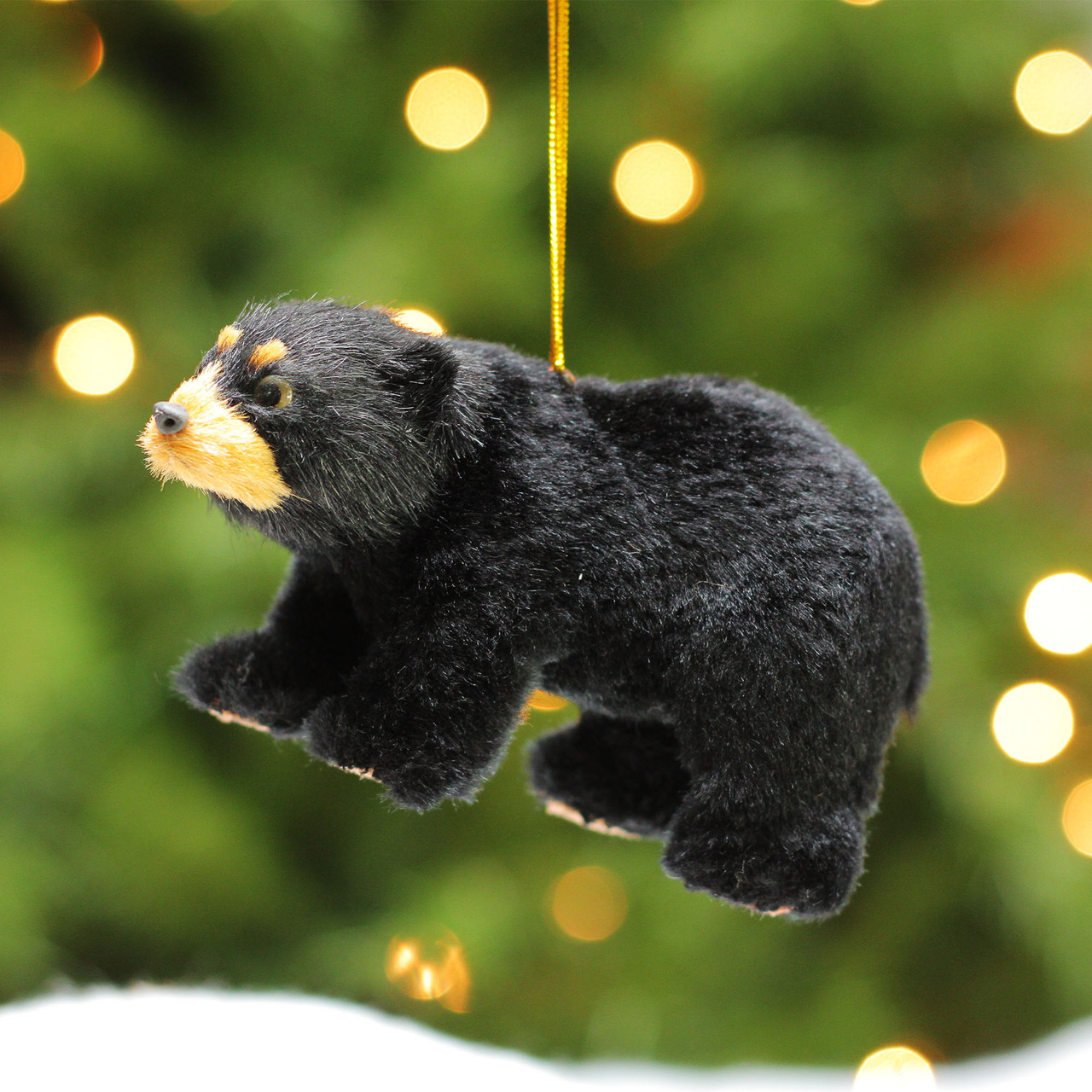 4 rustic lodge furry standing black bear christmas ornament 17103571