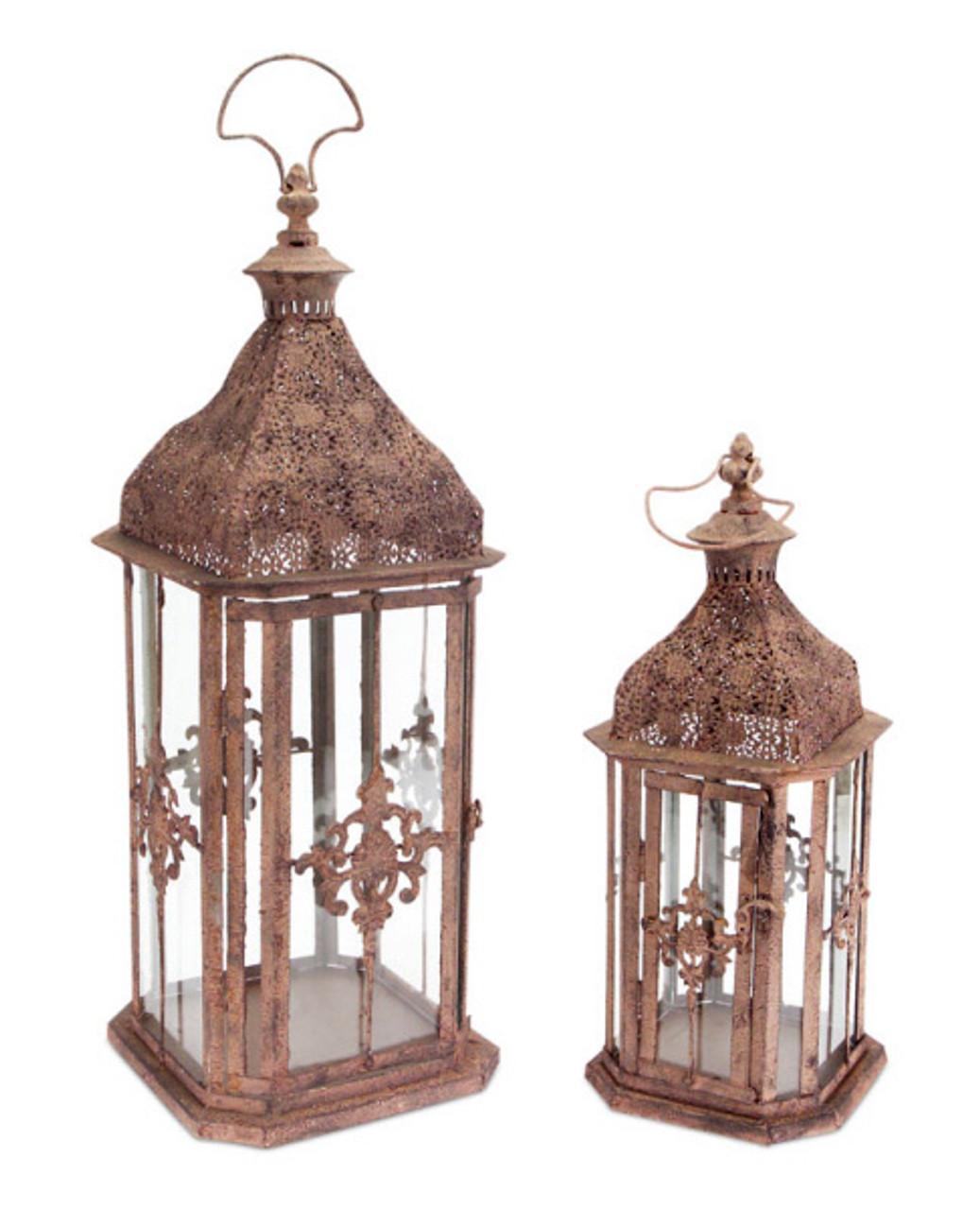 Set Of 2 Brick Brown Antique Rustic Pillar Candle Holder Lanterns 24