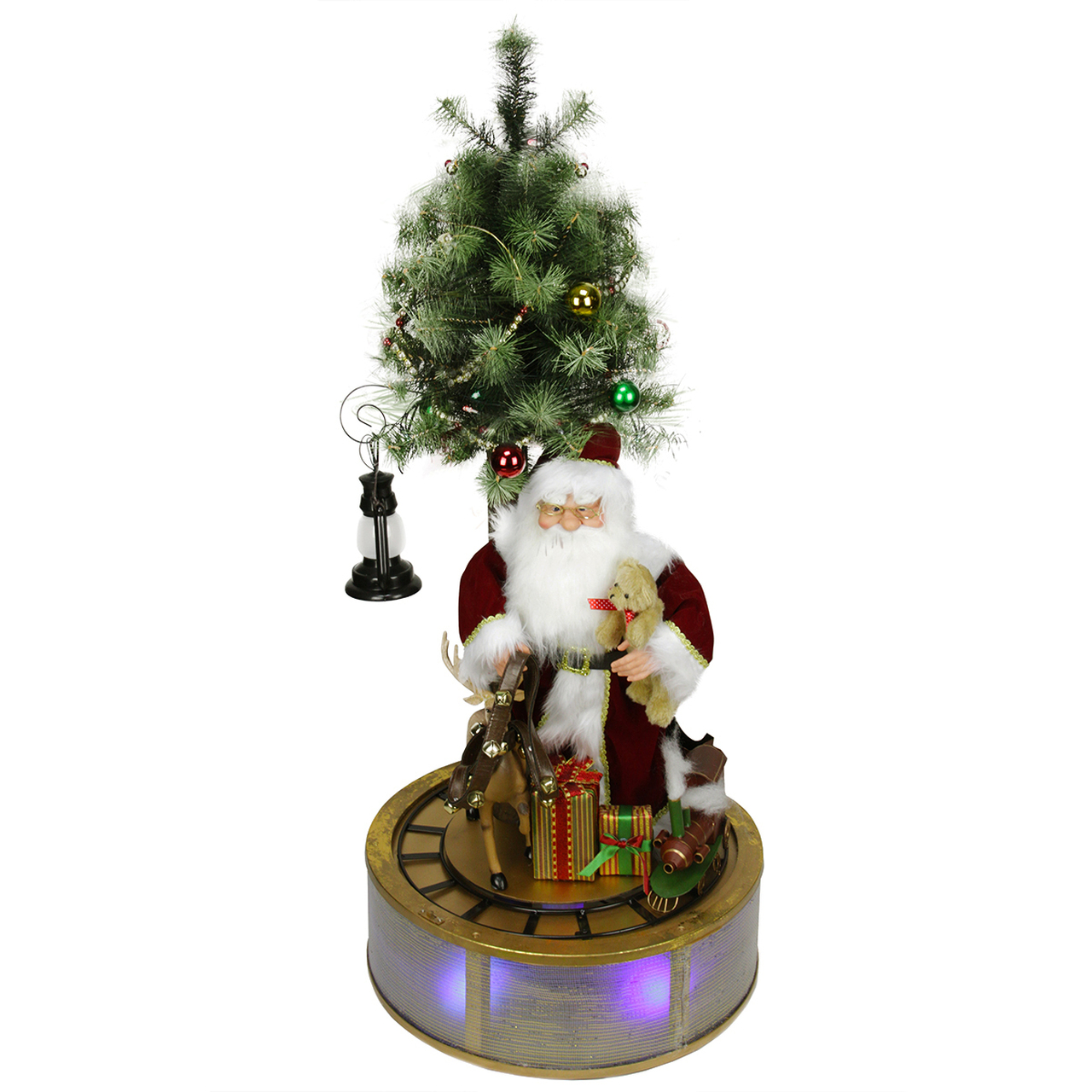4 animated and musical lighted led santa claus with tree and rotating train christmas decor 31422213 - Musical Animated Christmas Decorations