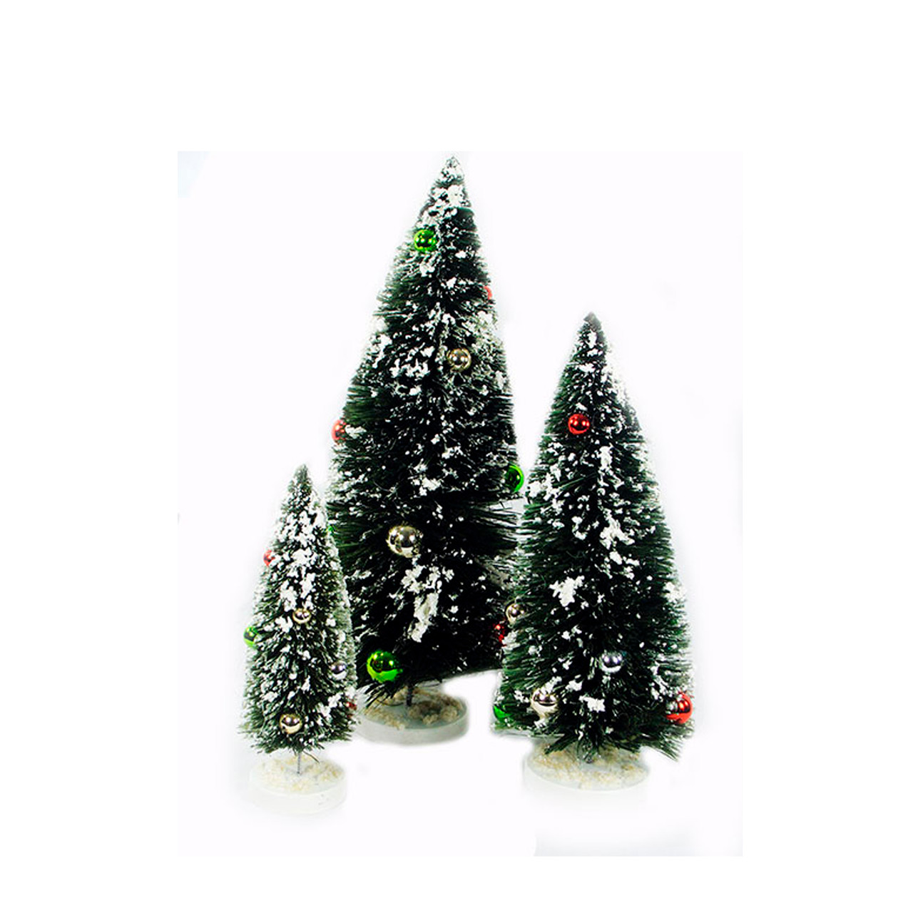 miniature christmas tree flocked set of 3 with ball ornaments 30782690