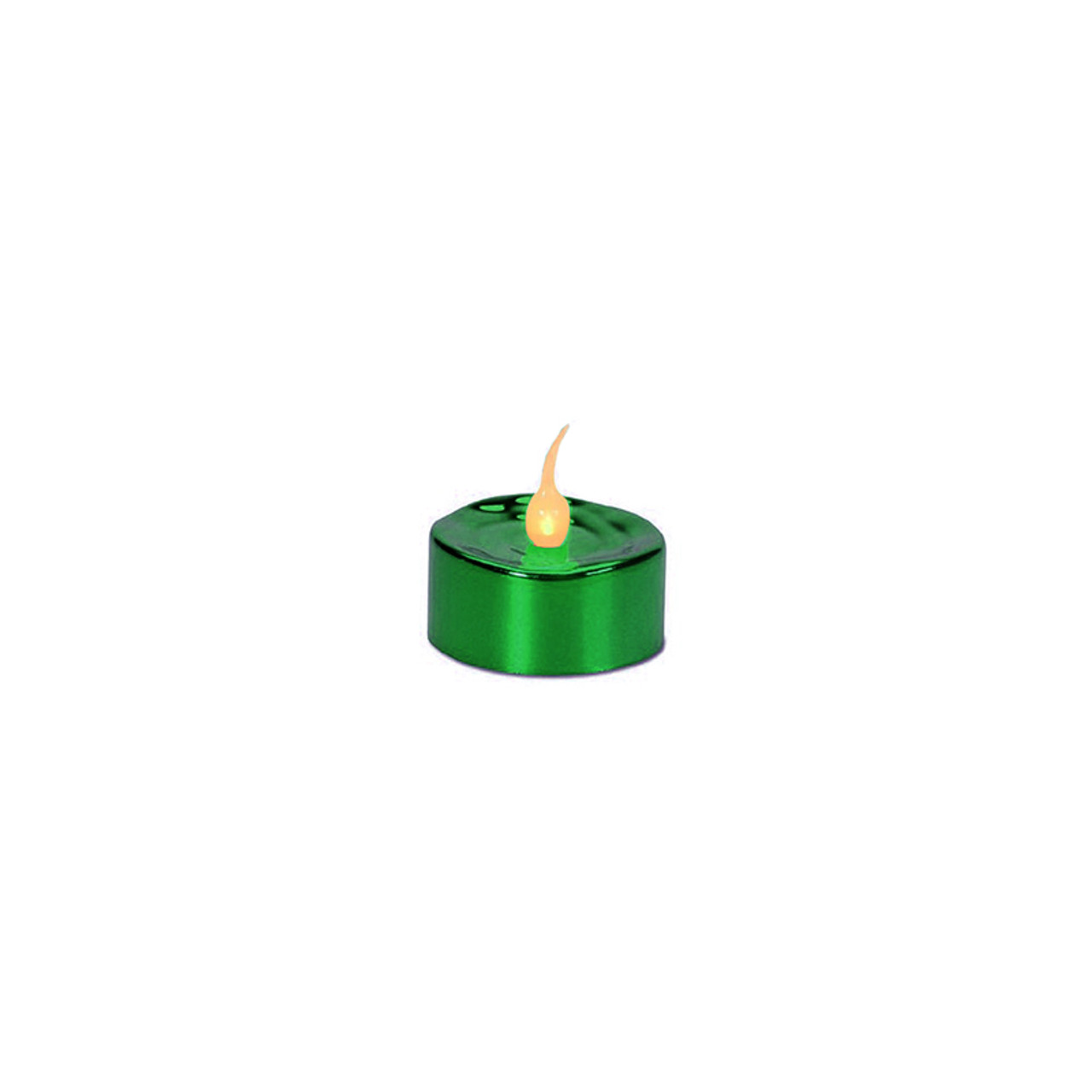 pack of 4 led lighted battery operated flicker flame green christmas tea light candles 31422636